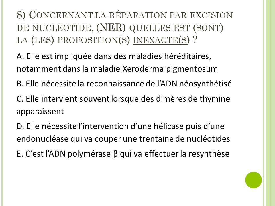 8) C ONCERNANT LA RÉPARATION PAR EXCISION DE NUCLÉOTIDE, (NER) QUELLES EST ( SONT ) LA ( LES ) PROPOSITION ( S ) INEXACTE ( S ) ? A. Elle est impliqué