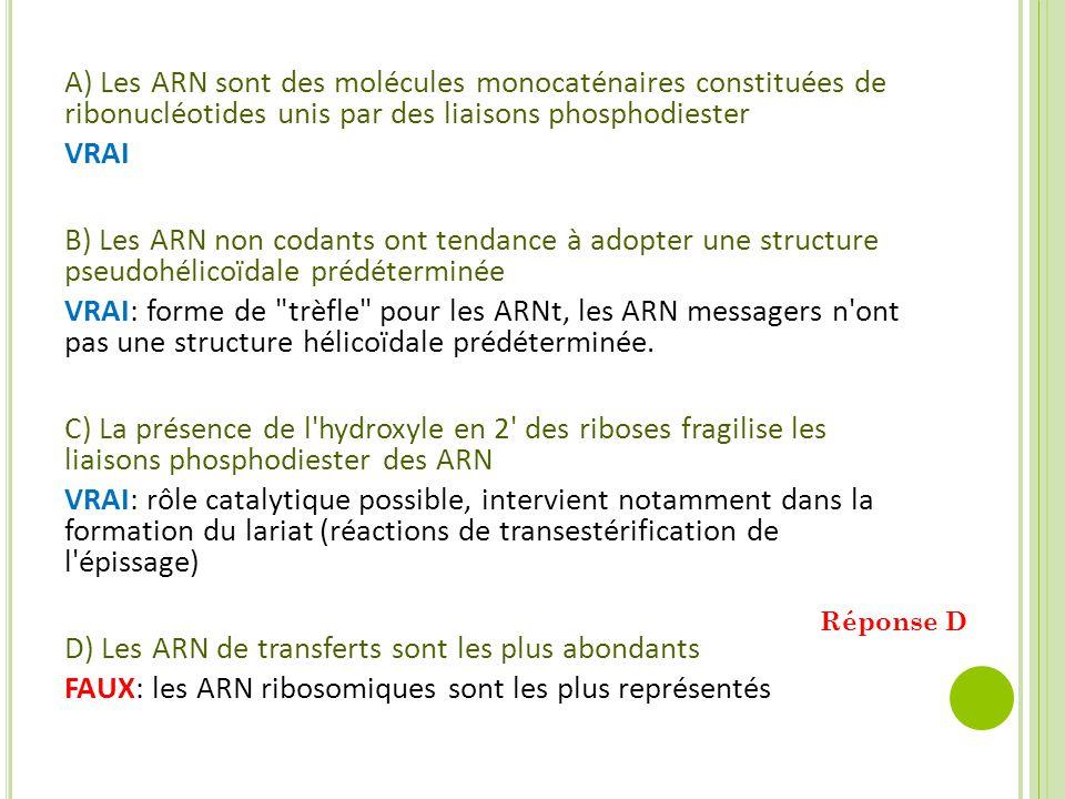 A) Les ARN sont des molécules monocaténaires constituées de ribonucléotides unis par des liaisons phosphodiester VRAI B) Les ARN non codants ont tenda