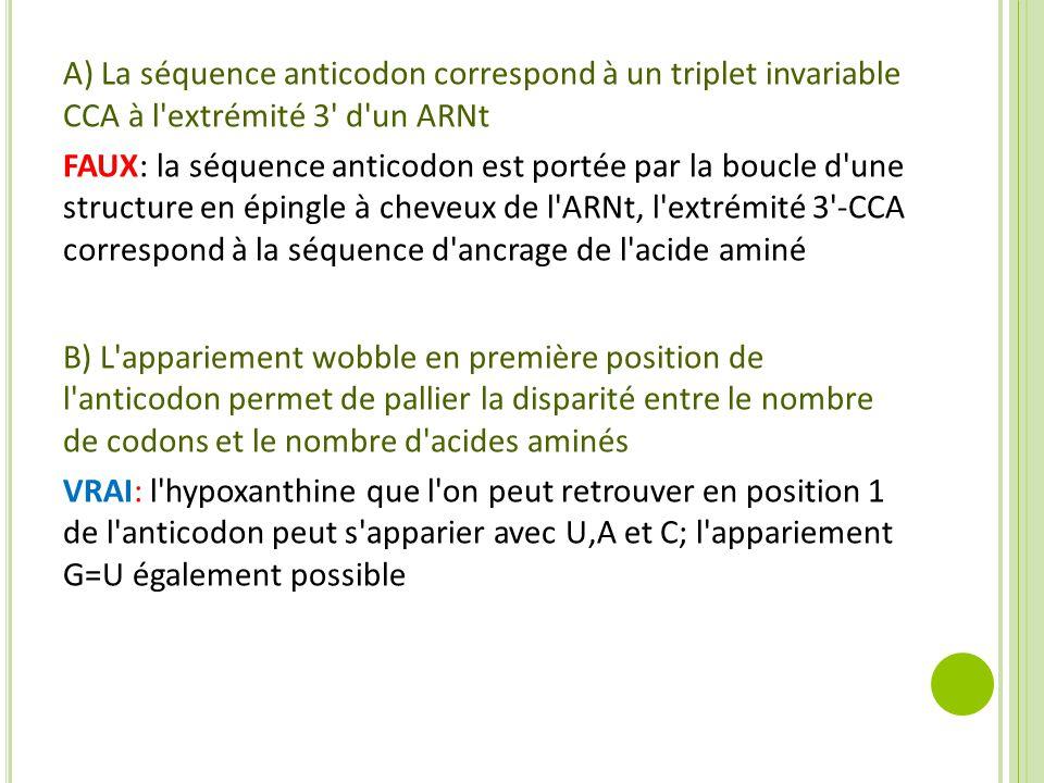A) La séquence anticodon correspond à un triplet invariable CCA à l'extrémité 3' d'un ARNt FAUX: la séquence anticodon est portée par la boucle d'une