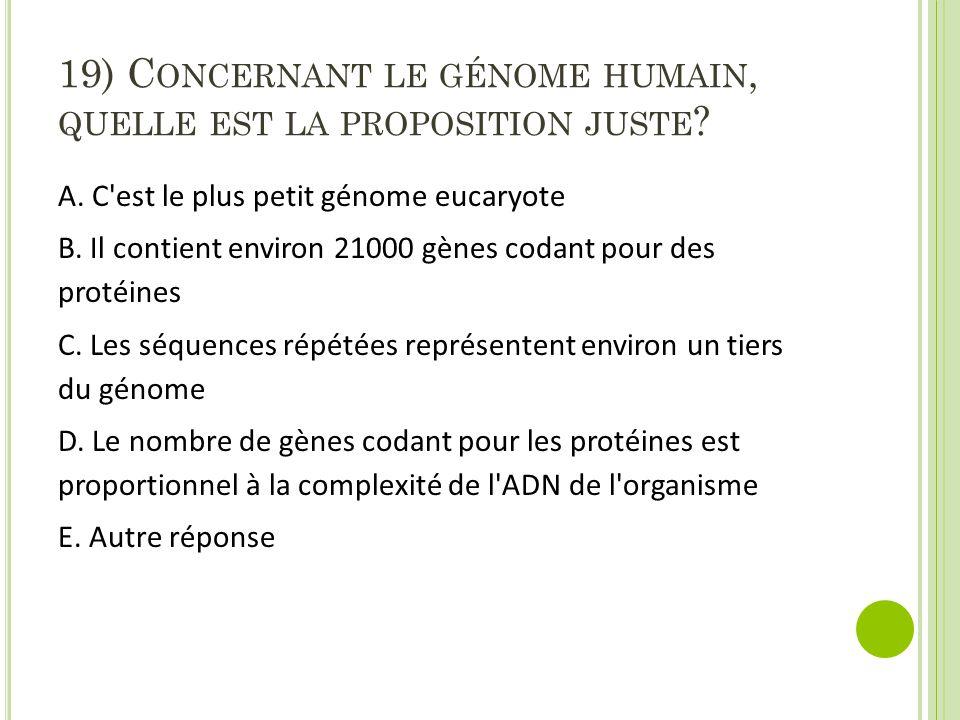 19) C ONCERNANT LE GÉNOME HUMAIN, QUELLE EST LA PROPOSITION JUSTE ? A. C'est le plus petit génome eucaryote B. Il contient environ 21000 gènes codant