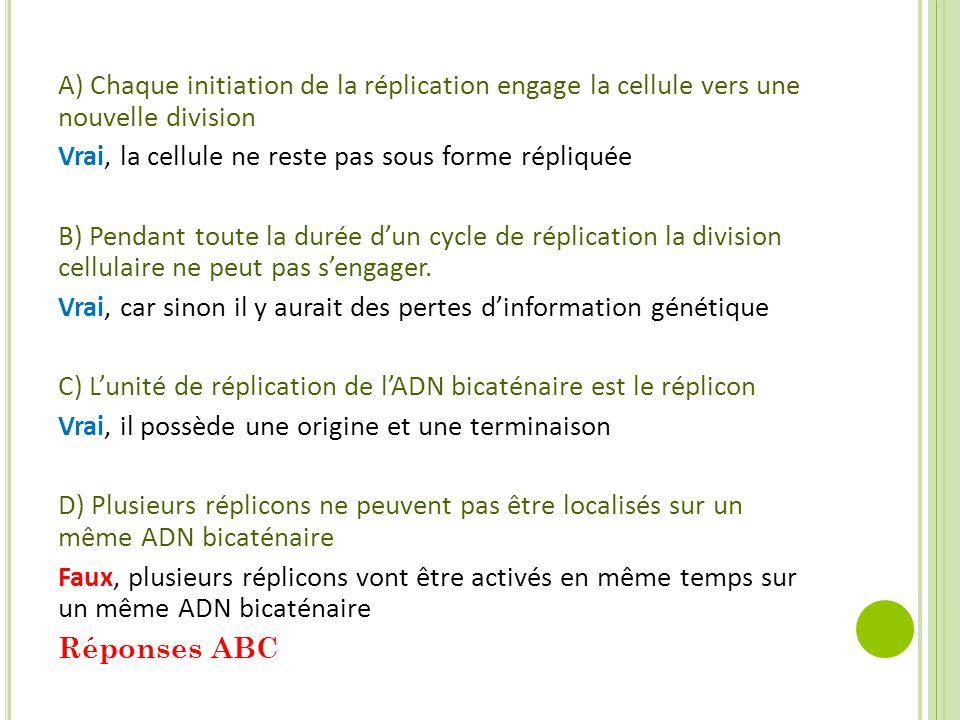 A) Chaque initiation de la réplication engage la cellule vers une nouvelle division Vrai, la cellule ne reste pas sous forme répliquée B) Pendant toute la durée d'un cycle de réplication la division cellulaire ne peut pas s'engager.
