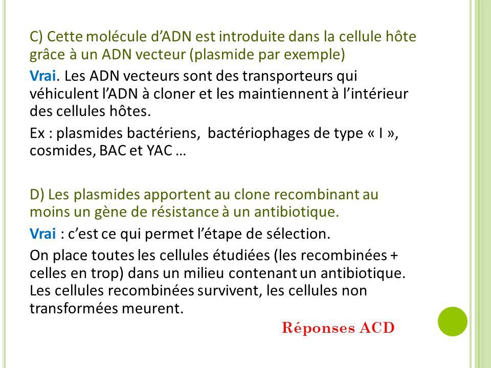 C) Cette molécule d'ADN est introduite dans la cellule hôte grâce à un ADN vecteur (plasmide par exemple) Vrai. Les ADN vecteurs sont des transporteur