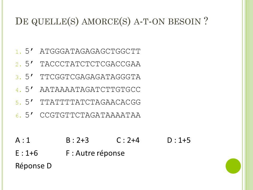 D E QUELLE ( S ) AMORCE ( S ) A - T - ON BESOIN ? 1. 5' ATGGGATAGAGAGCTGGCTT 2. 5' TACCCTATCTCTCGACCGAA 3. 5' TTCGGTCGAGAGATAGGGTA 4. 5' AATAAAATAGATC