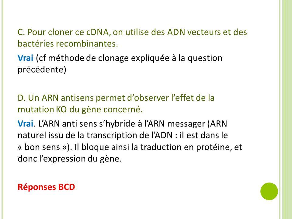 C. Pour cloner ce cDNA, on utilise des ADN vecteurs et des bactéries recombinantes. Vrai (cf méthode de clonage expliquée à la question précédente) D.