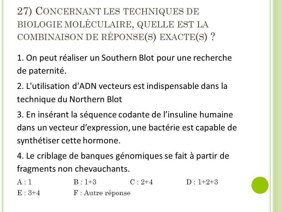27) C ONCERNANT LES TECHNIQUES DE BIOLOGIE MOLÉCULAIRE, QUELLE EST LA COMBINAISON DE RÉPONSE ( S ) EXACTE ( S ) .