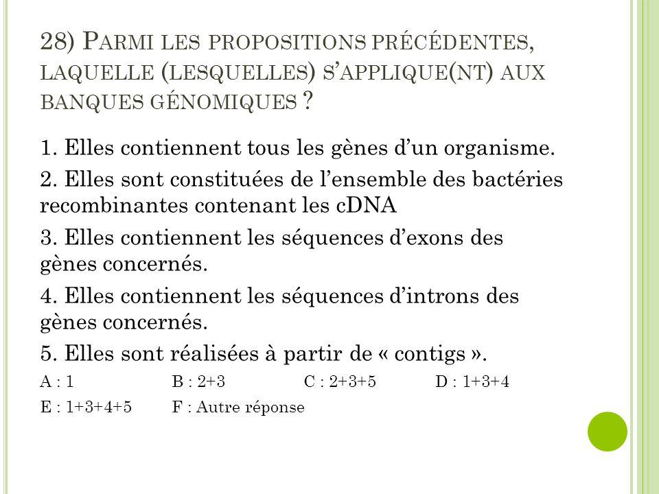 28) P ARMI LES PROPOSITIONS PRÉCÉDENTES, LAQUELLE ( LESQUELLES ) S ' APPLIQUE ( NT ) AUX BANQUES GÉNOMIQUES ? 1. Elles contiennent tous les gènes d'un