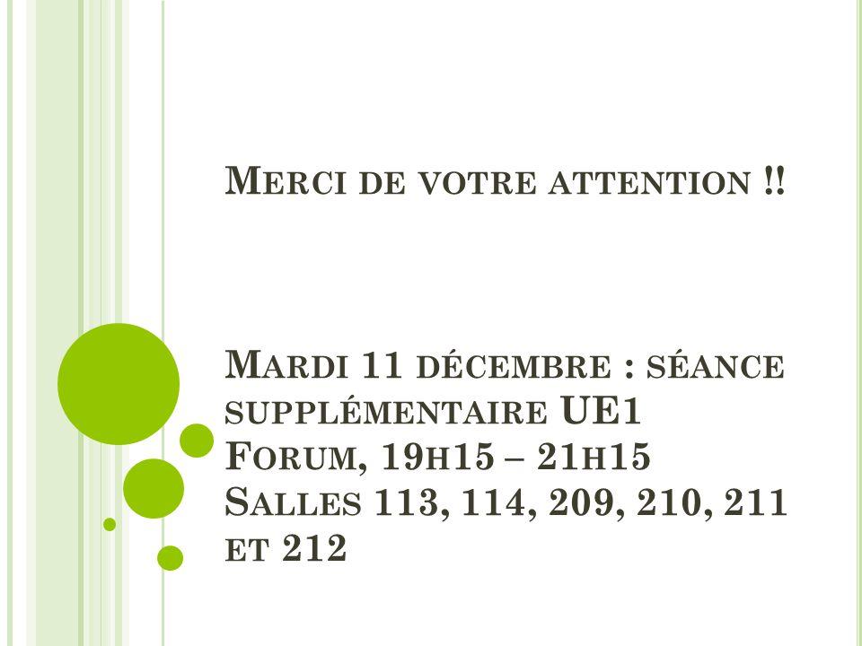 M ERCI DE VOTRE ATTENTION !! M ARDI 11 DÉCEMBRE : SÉANCE SUPPLÉMENTAIRE UE1 F ORUM, 19 H 15 – 21 H 15 S ALLES 113, 114, 209, 210, 211 ET 212