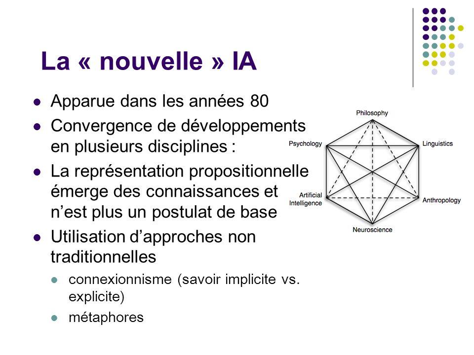 La « nouvelle » IA Apparue dans les années 80 Convergence de développements en plusieurs disciplines : La représentation propositionnelle émerge des c