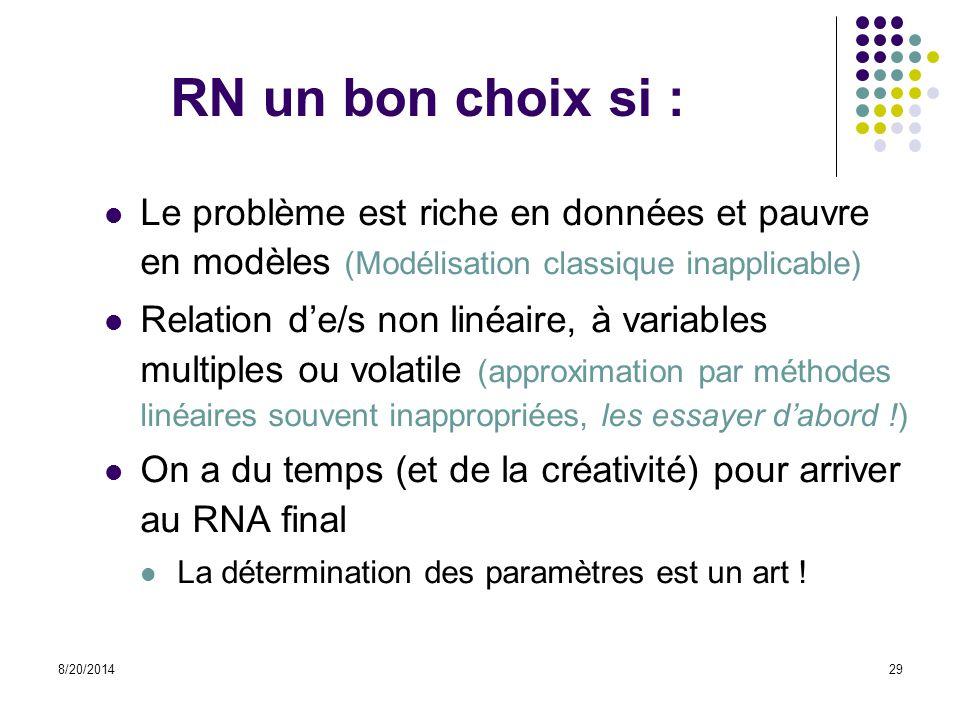 8/20/201429 RN un bon choix si : Le problème est riche en données et pauvre en modèles (Modélisation classique inapplicable) Relation d'e/s non linéai