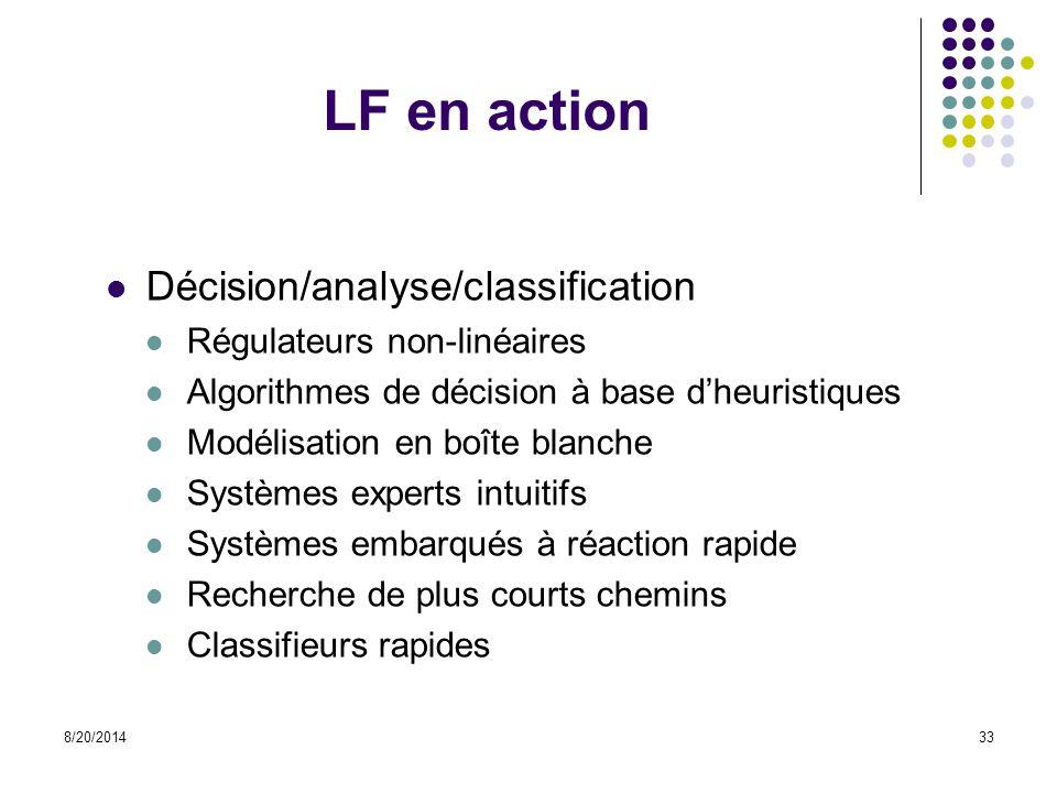 8/20/201433 LF en action Décision/analyse/classification Régulateurs non-linéaires Algorithmes de décision à base d'heuristiques Modélisation en boîte