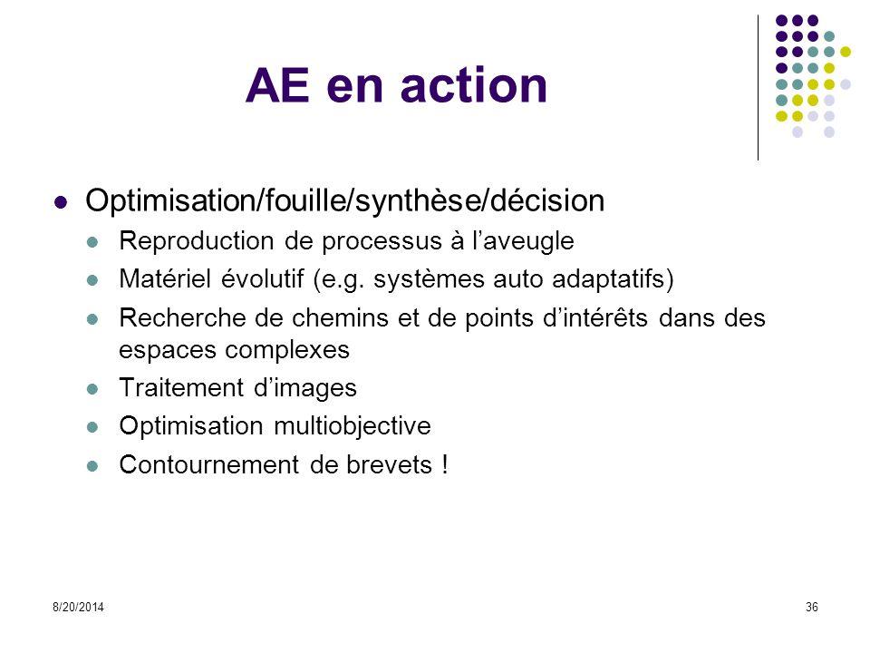 8/20/201436 AE en action Optimisation/fouille/synthèse/décision Reproduction de processus à l'aveugle Matériel évolutif (e.g. systèmes auto adaptatifs