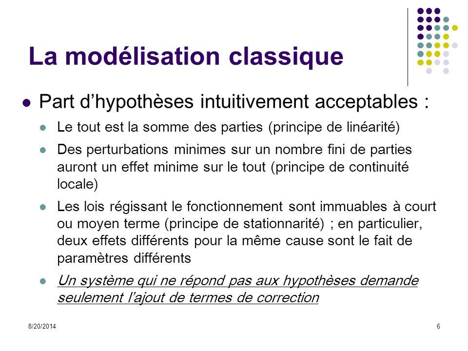 La modélisation classique Part d'hypothèses intuitivement acceptables : Le tout est la somme des parties (principe de linéarité) Des perturbations min