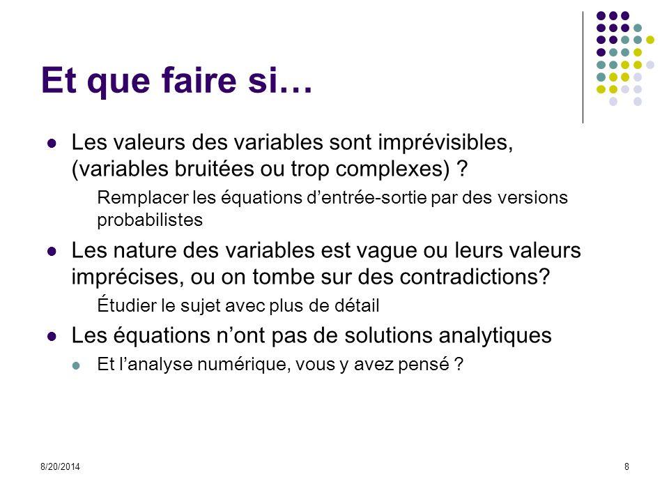Et que faire si… Les valeurs des variables sont imprévisibles, (variables bruitées ou trop complexes) ? Remplacer les équations d'entrée-sortie par de