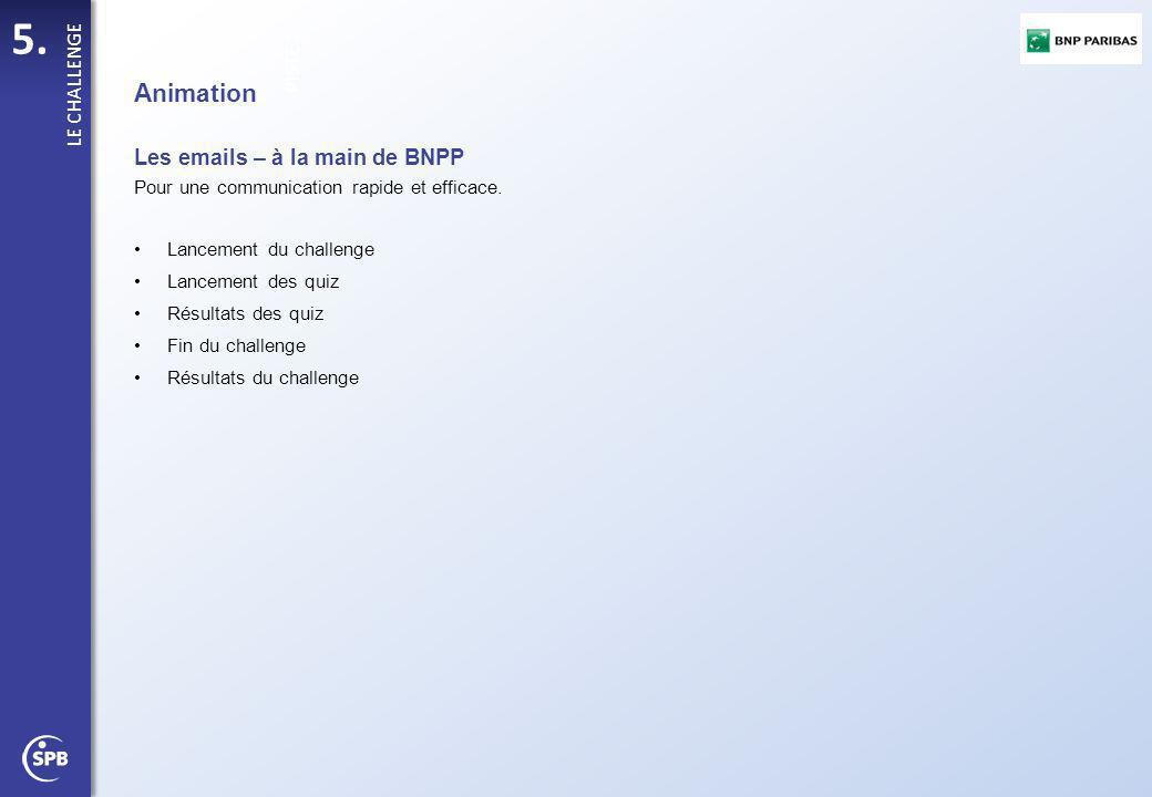 5. PISTE 1 LE CHALLENGE Animation Les emails – à la main de BNPP Pour une communication rapide et efficace. Lancement du challenge Lancement des quiz