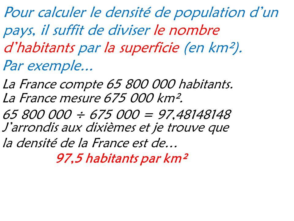 Pour calculer le densité de population d'un pays, il suffit de diviser le nombre d'habitants par la superficie (en km²). Par exemple... La France comp