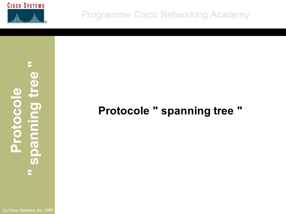Protocole spanning tree Programme Cisco Networking Academy (c) Cisco Systems, Inc. 2000