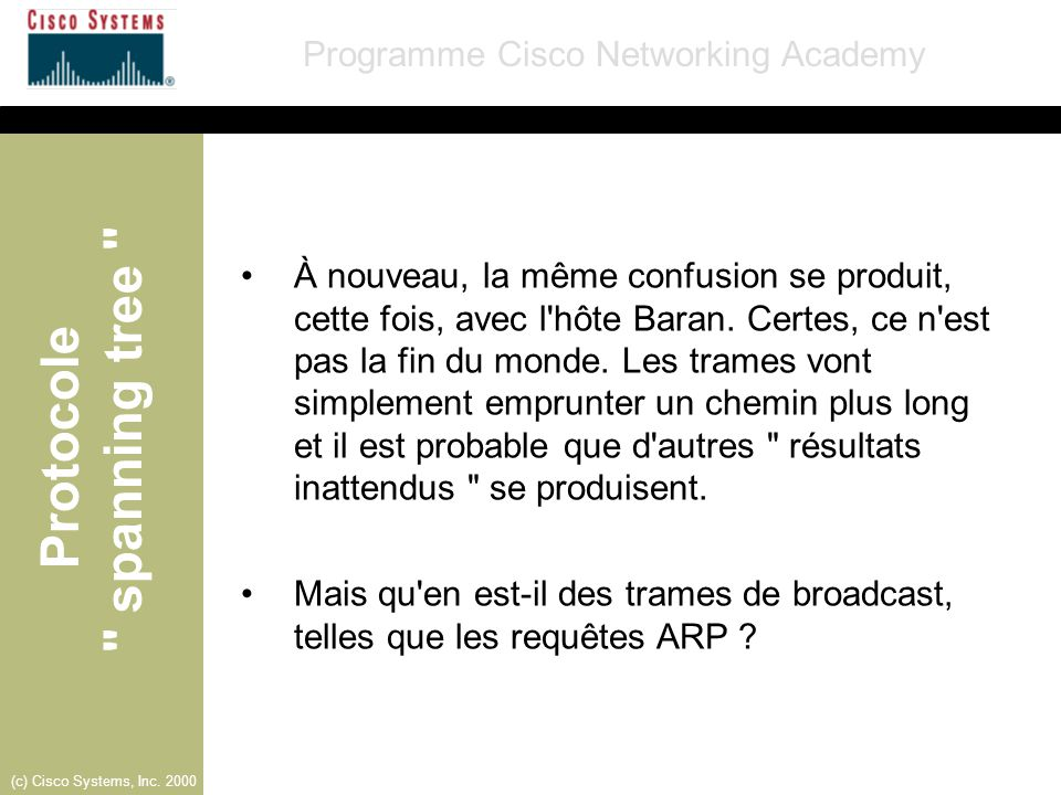 Protocole spanning tree Programme Cisco Networking Academy (c) Cisco Systems, Inc. 2000 Curly