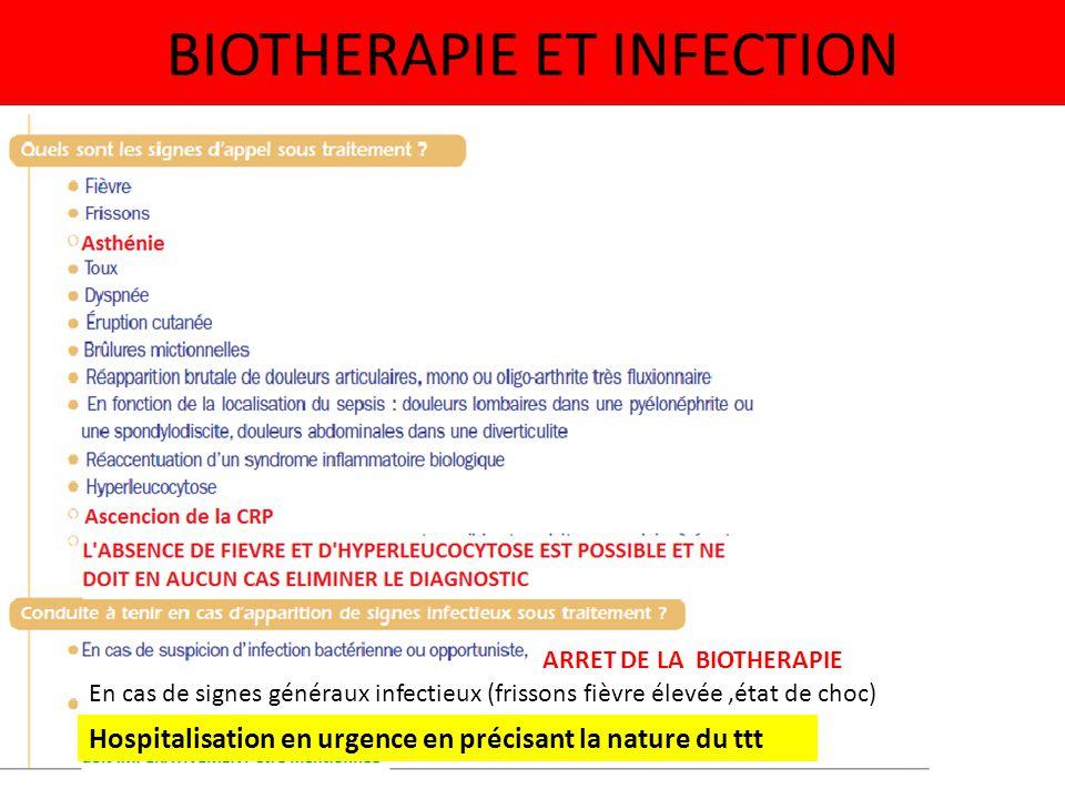 BIOTHERAPIE ET INFECTION ARRET DE LA BIOTHERAPIE En cas de signes généraux infectieux (frissons fièvre élevée,état de choc) Hospitalisation en urgence