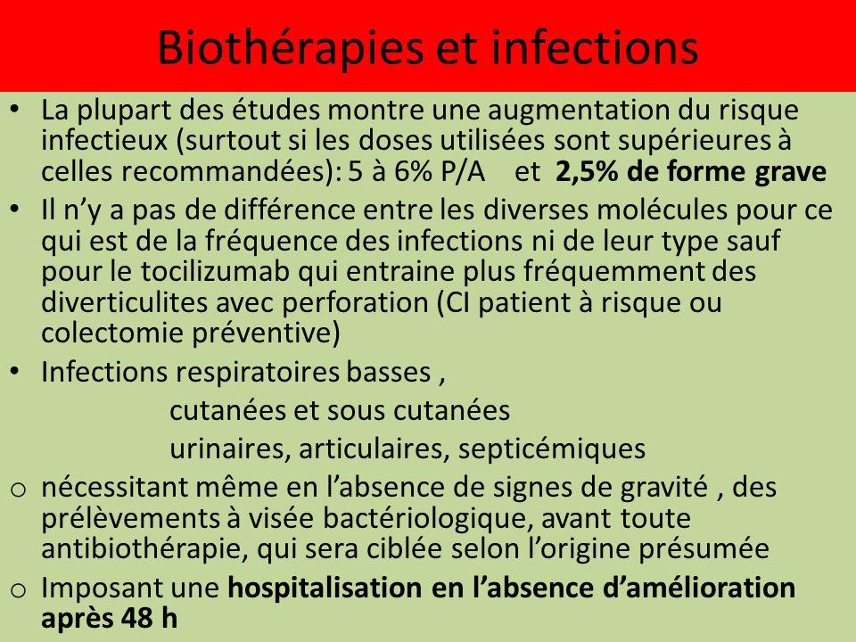 Biothérapies et infections La plupart des études montre une augmentation du risque infectieux (surtout si les doses utilisées sont supérieures à celle