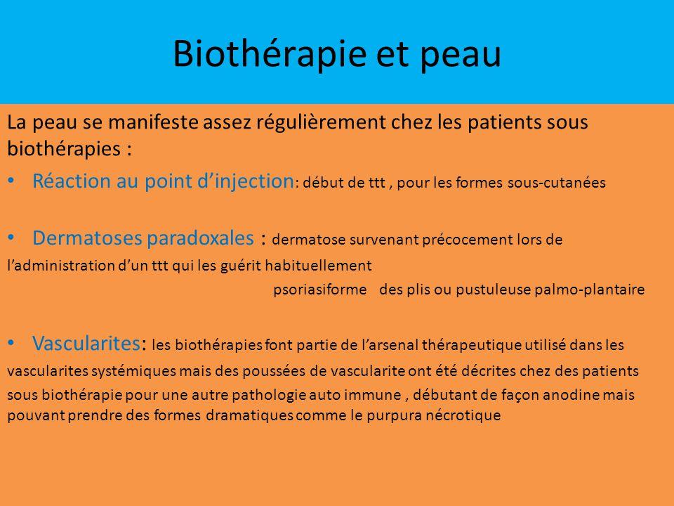 Biothérapie et peau La peau se manifeste assez régulièrement chez les patients sous biothérapies : Réaction au point d'injection : début de ttt, pour