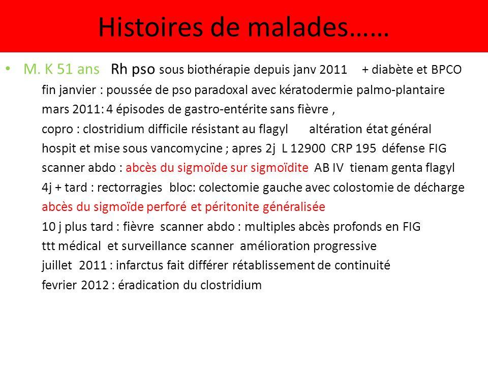 Histoires de malades…… M. K 51 ans Rh pso sous biothérapie depuis janv 2011 + diabète et BPCO fin janvier : poussée de pso paradoxal avec kératodermie