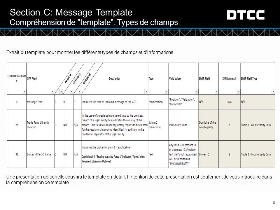 © DTCC Section C: Message Template Compréhension de template : Types de champs 8 Extrait du template pour montrer les différents types de champs et d'informations Une presentation aditionelle couvrira le template en detail, l'intention de cette presentation est seulement de vous introduire dans la compréhension de template