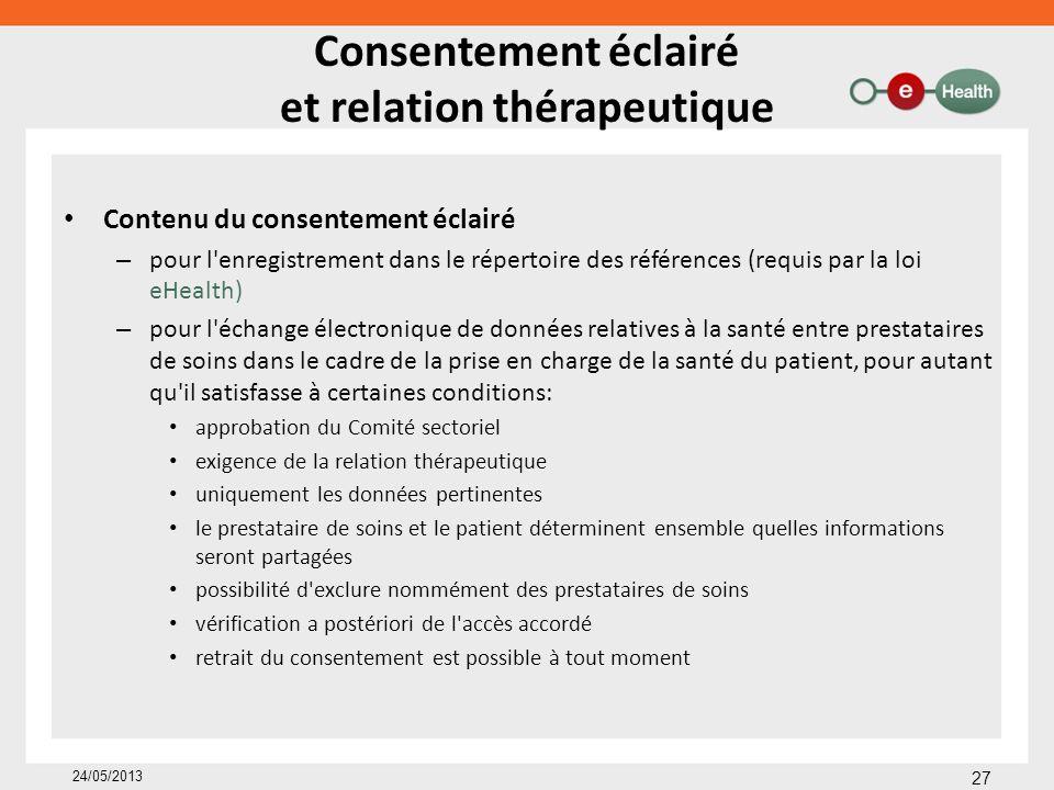 Consentement éclairé et relation thérapeutique Contenu du consentement éclairé – pour l'enregistrement dans le répertoire des références (requis par l