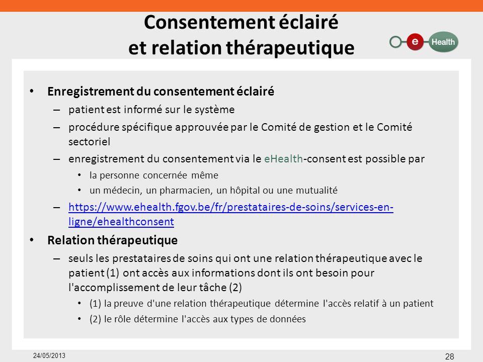 Enregistrement du consentement éclairé – patient est informé sur le système – procédure spécifique approuvée par le Comité de gestion et le Comité sec