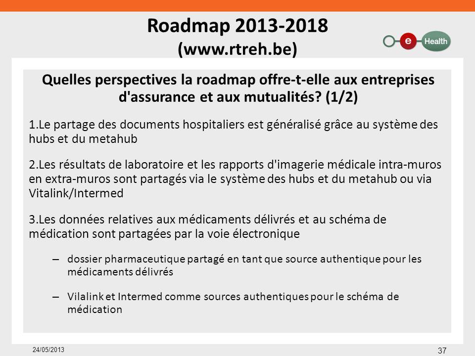 Roadmap 2013-2018 (www.rtreh.be) Quelles perspectives la roadmap offre-t-elle aux entreprises d'assurance et aux mutualités? (1/2) 1.Le partage des do