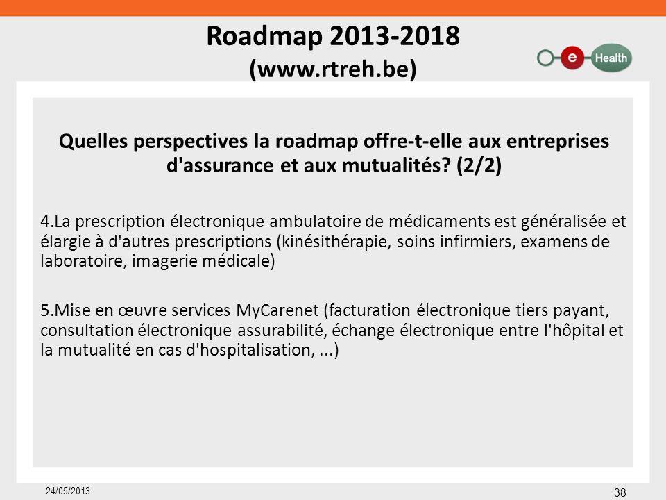 Roadmap 2013-2018 (www.rtreh.be) Quelles perspectives la roadmap offre-t-elle aux entreprises d'assurance et aux mutualités? (2/2) 4.La prescription é