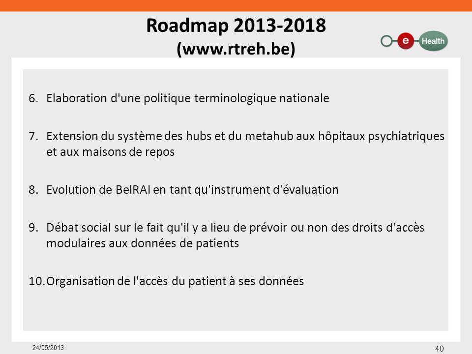 Roadmap 2013-2018 (www.rtreh.be) 6.Elaboration d'une politique terminologique nationale 7.Extension du système des hubs et du metahub aux hôpitaux psy