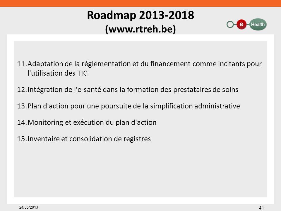 Roadmap 2013-2018 (www.rtreh.be) 11.Adaptation de la réglementation et du financement comme incitants pour l'utilisation des TIC 12.Intégration de l'e