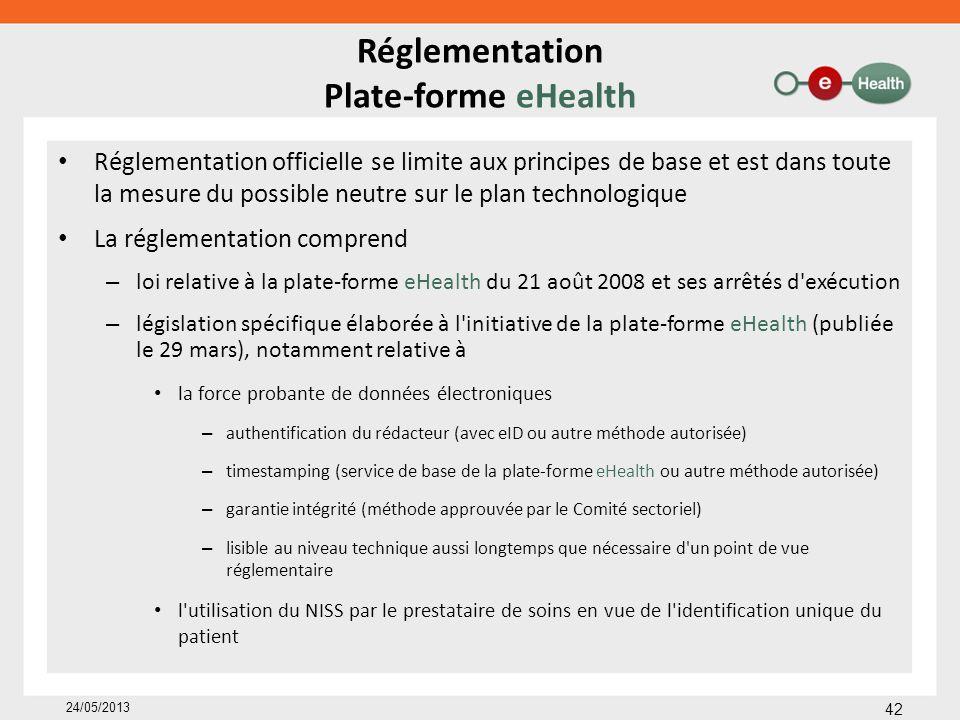 Réglementation Plate-forme eHealth Réglementation officielle se limite aux principes de base et est dans toute la mesure du possible neutre sur le pla