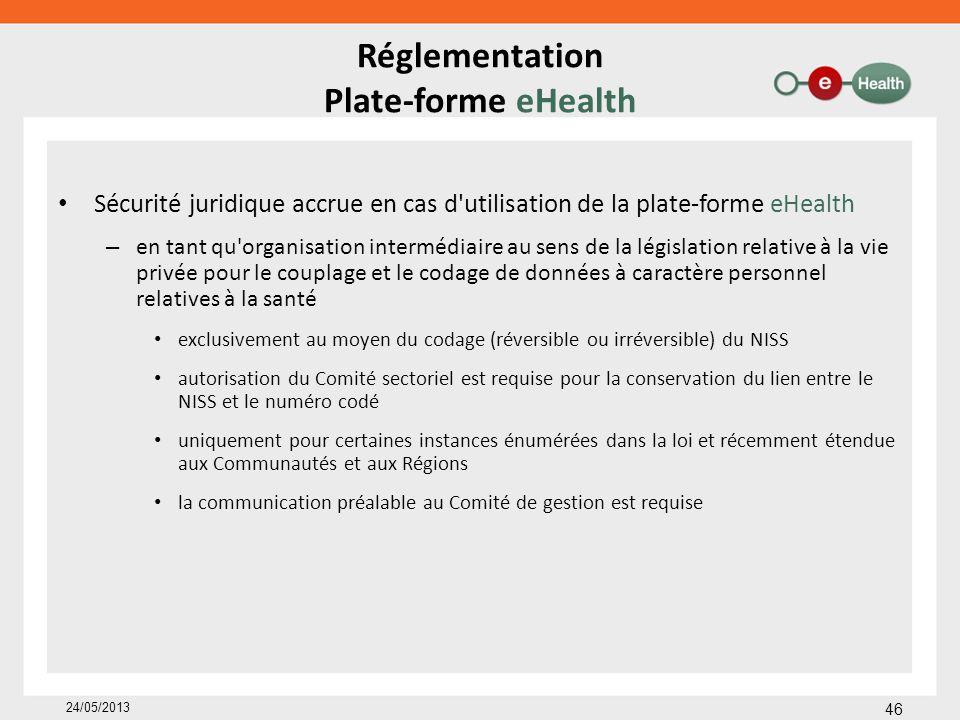Réglementation Plate-forme eHealth Sécurité juridique accrue en cas d'utilisation de la plate-forme eHealth – en tant qu'organisation intermédiaire au