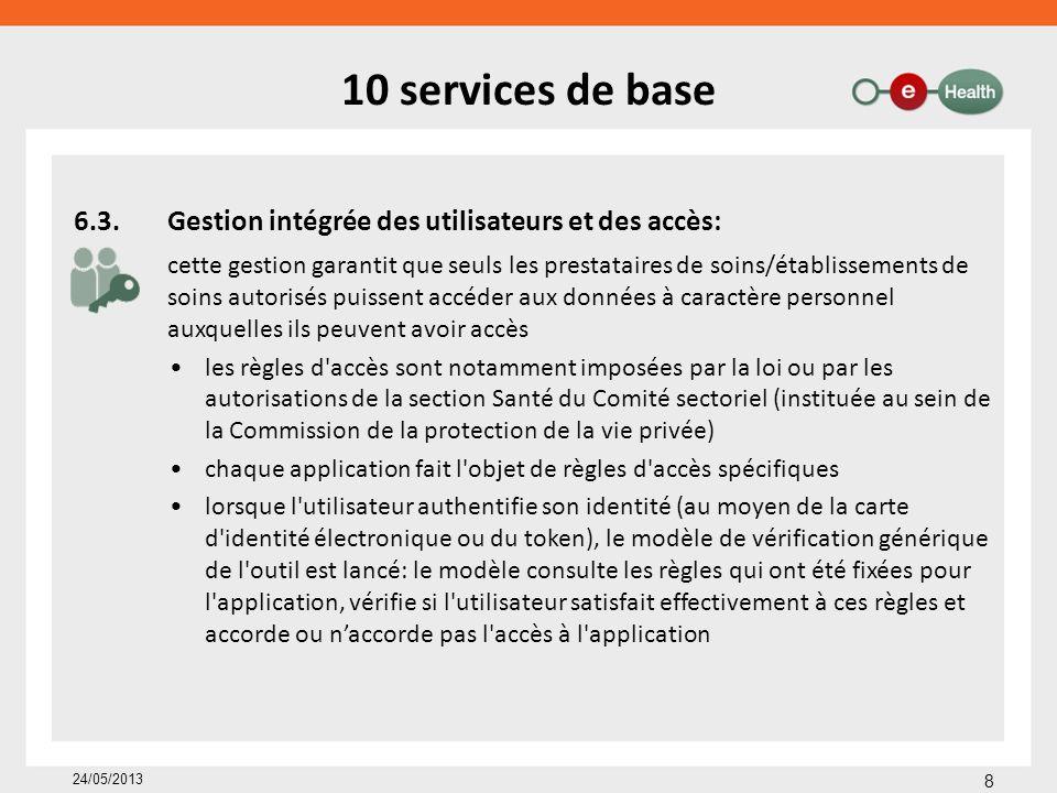 Transmission de données: eHealthBox Envoi de messages vers des acteurs des soins de santé – sur base de numéro de registre national numéro INAMI numéro BCE – via application web ou intégré dans le dossier médical – avec (ou sans) chiffrement sur base de certificats eHealth / clés – autres fonctionnalités confirmation de réception, de publication et de lecture reply & forward consultation de mailboxes multiples niveau de priorité auto-delete 19 24/05/2013