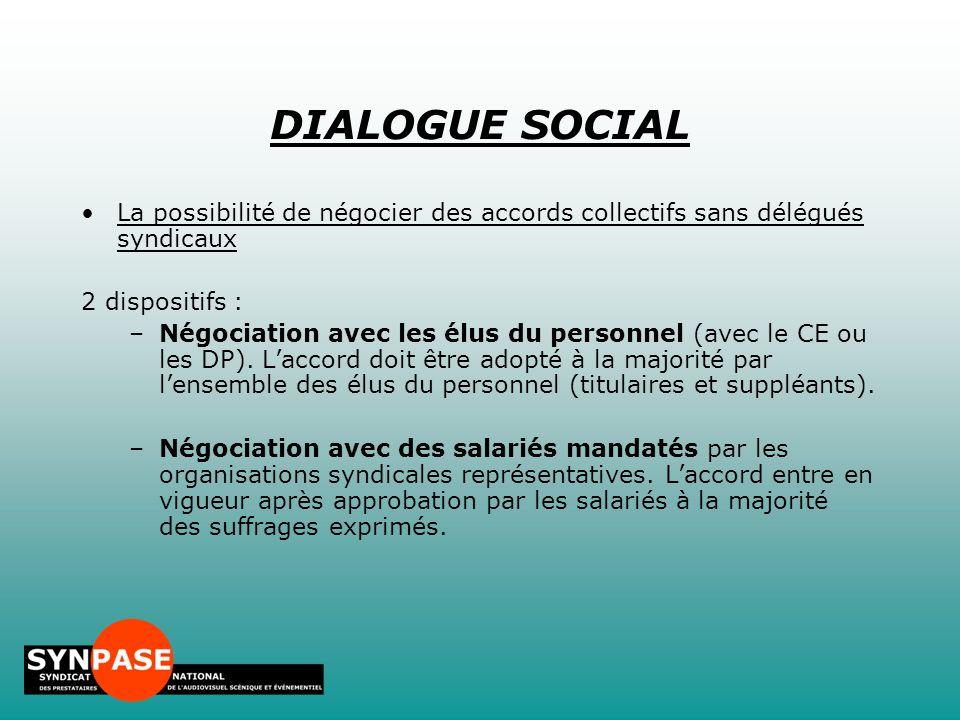 La possibilité de négocier des accords collectifs sans délégués syndicaux 2 dispositifs : –Négociation avec les élus du personnel (avec le CE ou les D