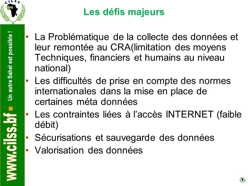 Un autre Sahel est possible ! Les défis majeurs La Problématique de la collecte des données et leur remontée au CRA(limitation des moyens Techniques,