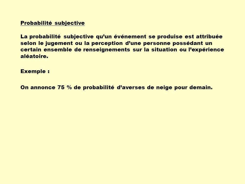 Probabilité subjective La probabilité subjective qu'un événement se produise est attribuée selon le jugement ou la perception d'une personne possédant