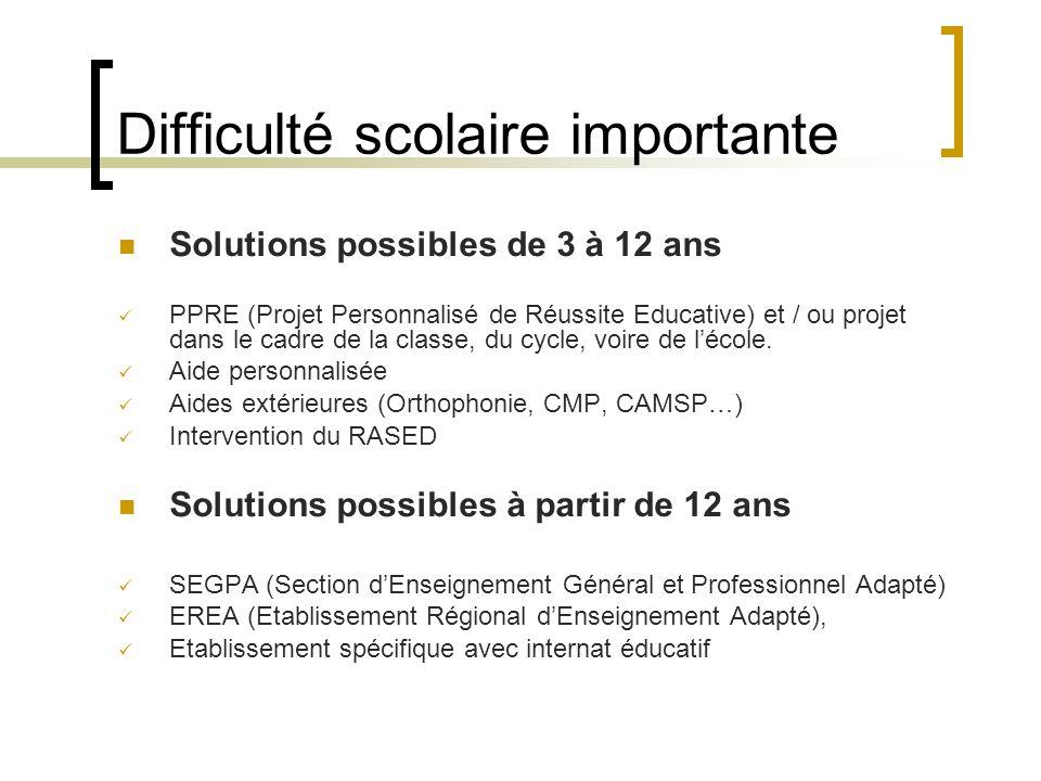 Difficulté scolaire importante Solutions possibles de 3 à 12 ans PPRE (Projet Personnalisé de Réussite Educative) et / ou projet dans le cadre de la classe, du cycle, voire de l'école.