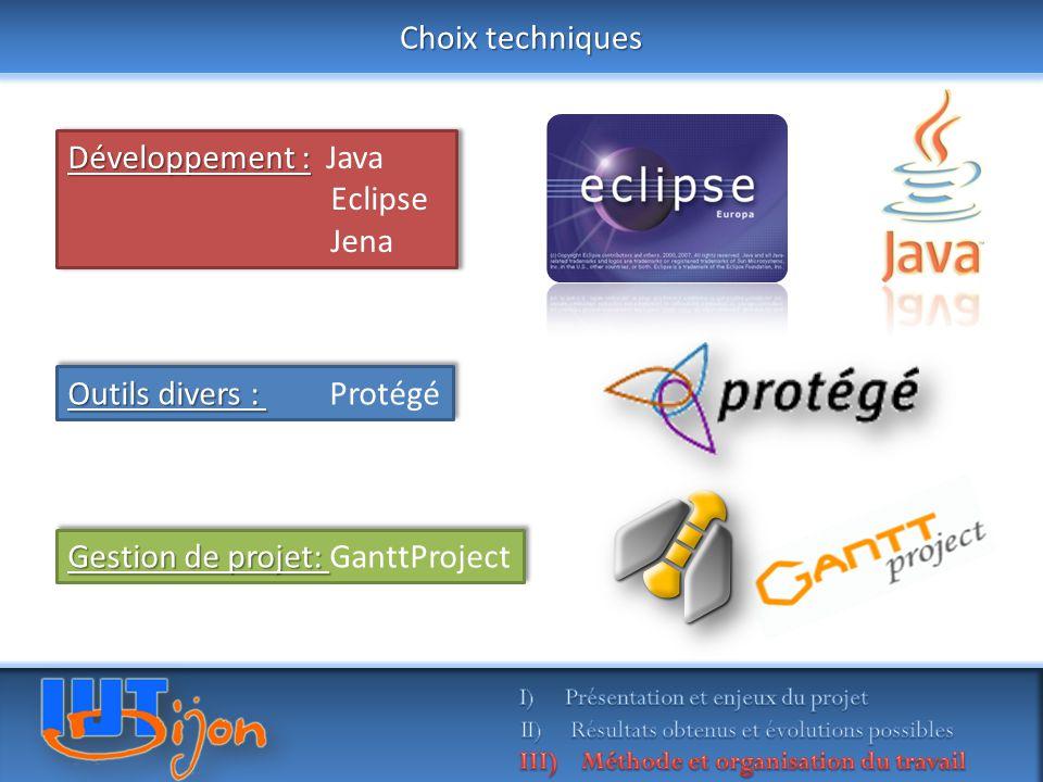 Choix techniques Gestion de projet: Gestion de projet: GanttProject Développement : Développement : Java Eclipse Jena Développement : Développement : Java Eclipse Jena Outils divers : Outils divers : Protégé