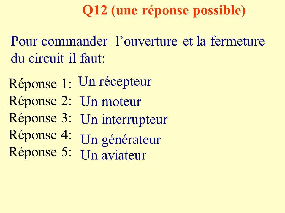 Q11 (deux réponses possibles) Pour fonctionner correctement, un circuit électrique doit comporter au minimum: Réponse 1: Réponse 2: Réponse 3: Réponse