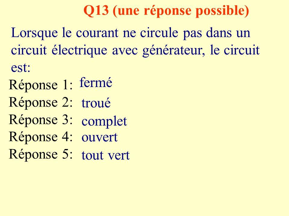 Q12 (une réponse possible) Pour commander l'ouverture et la fermeture du circuit il faut: Réponse 1: Réponse 2: Réponse 3: Réponse 4: Réponse 5: Un ré