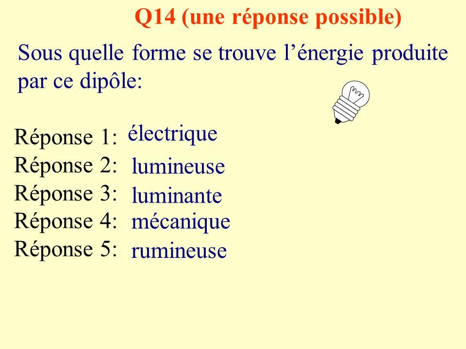 Q13 (une réponse possible) Lorsque le courant ne circule pas dans un circuit électrique avec générateur, le circuit est: Réponse 1: Réponse 2: Réponse