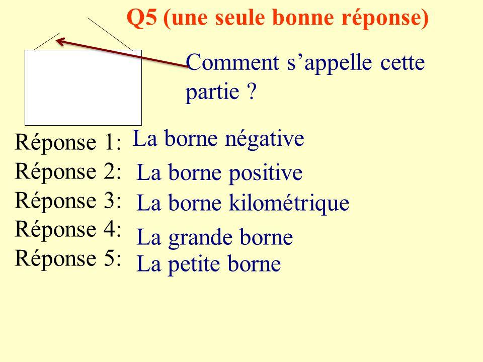 Q4 (une seule bonne réponse) Comment s'appelle cette partie ? Réponse 1: Réponse 2: Réponse 3: Réponse 4: Réponse 5: Une lampe Une ampoule Un plot Un