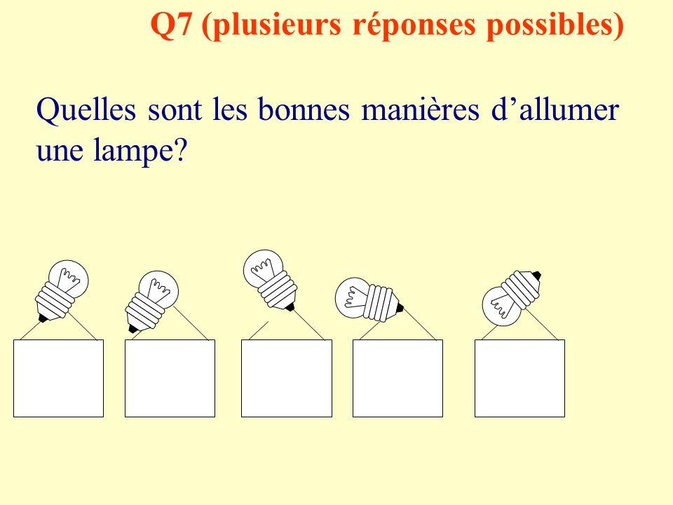 Q6 (plusieurs réponses possibles) La pile est elle ? Réponse 1: Réponse 2: Réponse 3: Réponse 4: Réponse 5: Un dipôle Un récepteur Un générateur Un ré