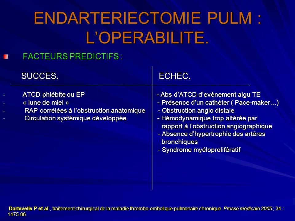 ENDARTERIECTOMIE PULM : L'OPERABILITE. FACTEURS PREDICTIFS : SUCCES. ECHEC. SUCCES. ECHEC. - ATCD phlébite ou EP - Abs d'ATCD d'evènement aigu TE - «