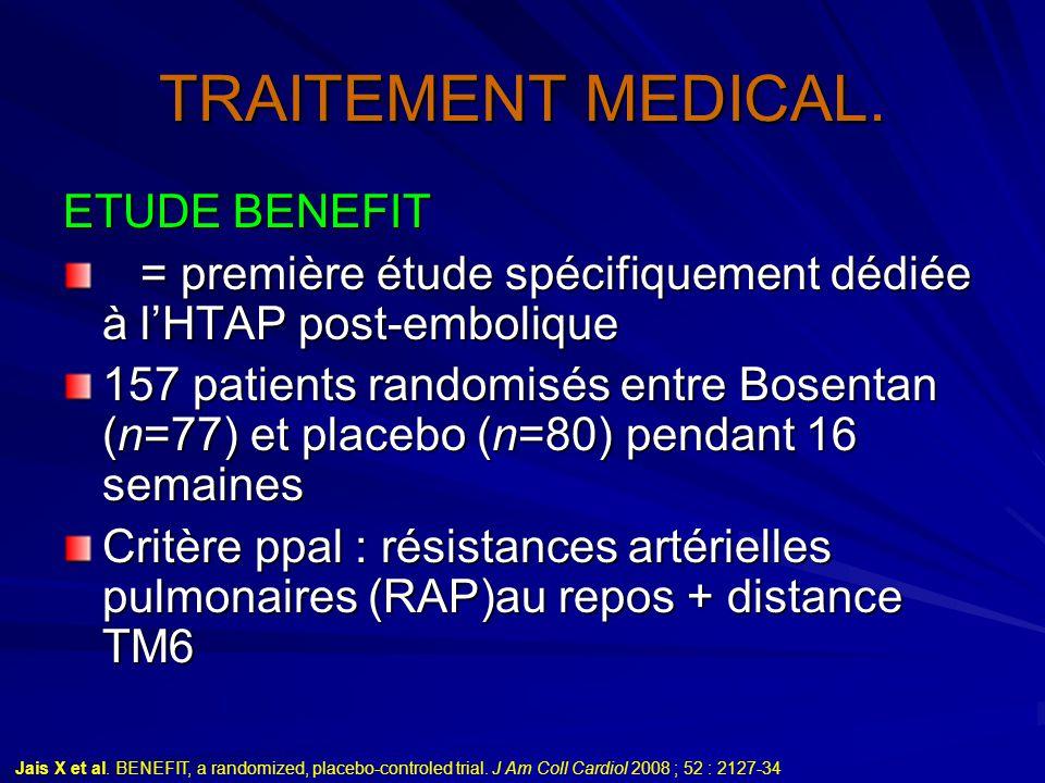 TRAITEMENT MEDICAL. ETUDE BENEFIT = première étude spécifiquement dédiée à l'HTAP post-embolique = première étude spécifiquement dédiée à l'HTAP post-