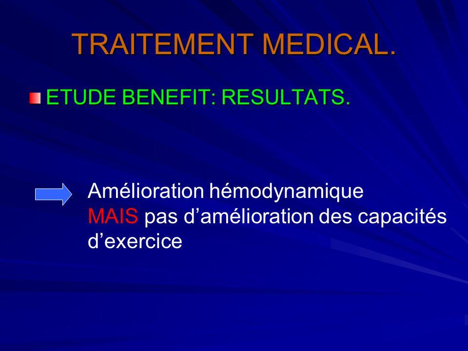 TRAITEMENT MEDICAL. ETUDE BENEFIT: RESULTATS. Amélioration hémodynamique MAIS pas d'amélioration des capacités d'exercice