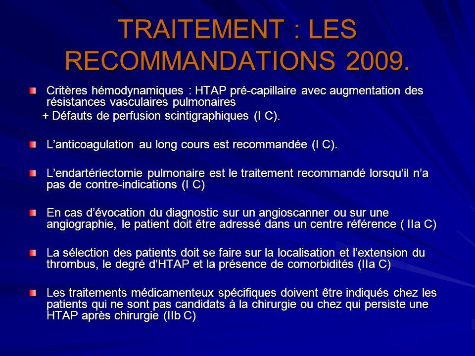 TRAITEMENT : LES RECOMMANDATIONS 2009. Critères hémodynamiques : HTAP pré-capillaire avec augmentation des résistances vasculaires pulmonaires + Défau