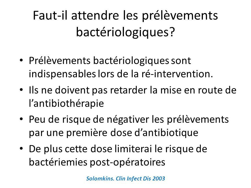 Faut-il attendre les prélèvements bactériologiques? Prélèvements bactériologiques sont indispensables lors de la ré-intervention. Ils ne doivent pas r